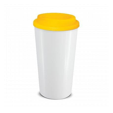 White Yellow 480ml Grande Cafe Style Reusable Cups