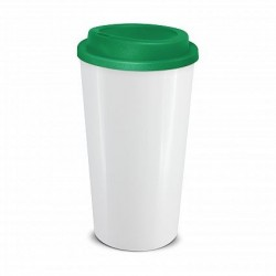 White Dark Green 480ml Grande Cafe Style Reusable Cups