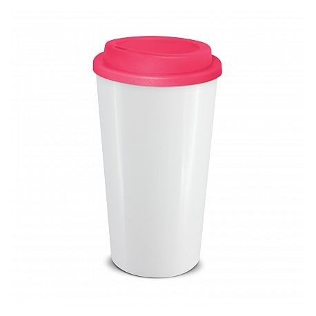 White Pink 480ml Grande Cafe Style Reusable Cups