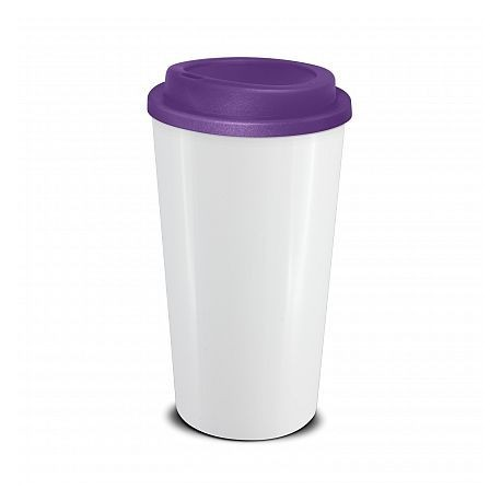 White Purple 480ml Grande Cafe Style Reusable Cups