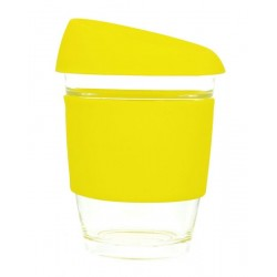 Yellow 340ml Reusable Glass Karma Kup with Silicone Band and Lid