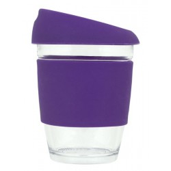 Purple 340ml Reusable Glass Karma Kup with Silicone Band and Lid