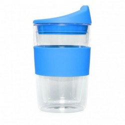 Light Blue 300ml Reusable Double Walled Glass Cup 2 Go