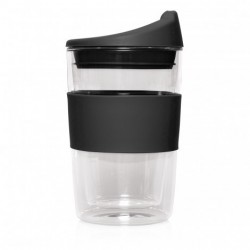 Black 300ml Reusable Double Walled Glass Cup 2 Go