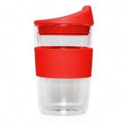 Red 300ml Reusable Double Walled Glass Cup 2 Go