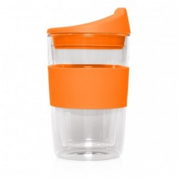 Orange300ml Reusable Double Walled Glass Cup 2 Go
