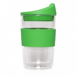 Green 300ml Reusable Double Walled Glass Cup 2 Go