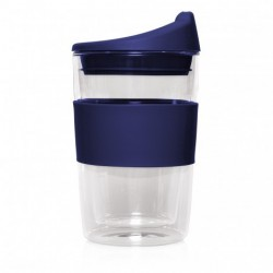 Navy 300ml Reusable Double Walled Glass Cup 2 Go