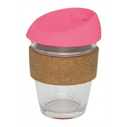 Pink 340ml Reusable Glass Karma Kup with Cork Band and Silicone Lid