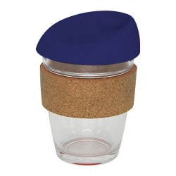 Navy 340ml Reusable Glass Karma Kup with Cork Band and Silicone Lid