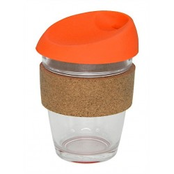 Orange 340ml Reusable Glass Karma Kup with Cork Band and Silicone Lid