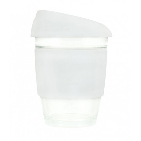 White 340ml Reusable Glass Karma Kup with Silicone Band and Lid