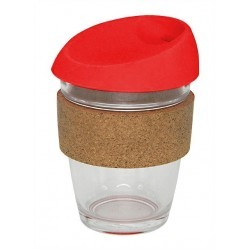 340ml Red Glass Karma Kup with silicone lid and cork band